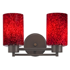 Modern Bathroom Light with Red Glass in Bronze Finish