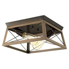 Progress Lighting Briarwood Antique Bronze with Faux-Painted Wood Flushmount Light
