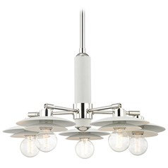 Mid-Century Modern Chandelier Polished Nickel / White Mitzi Milla by Hudson Valley