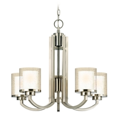 Modern Chandelier with Clear Seedy and White Glass Shades