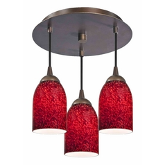 3-Light Semi-Flush Light with Red Glass - Bronze Finish