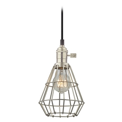 Retro Hoyt Satin Nickel Mini-Pendant Light with Cage