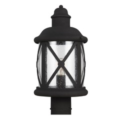 Seeded Glass Post Light Black Sea Gull Lighting
