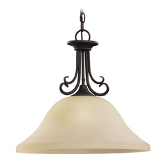 Sea Gull Lighting Del Prato Chestnut Bronze LED Pendant Light with Bowl / Dome Shade