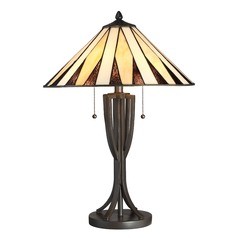 Quoizel Lighting Tiffany Western Bronze Table Lamp with Coolie Shade