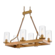 Livex Lighting Metuchen Aged Gold Island Light with Cylindrical Shade