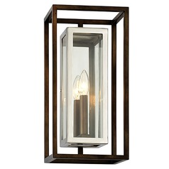Troy Lighting Morgan Bronze with Polished Stainless Outdoor Wall Light