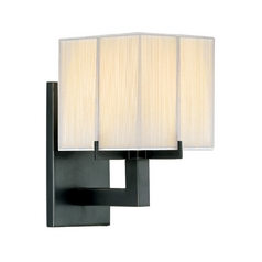 Modern Sconce Wall Light with White Shade in Black Brass Finish