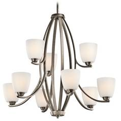Kichler Chandelier with White Glass in Brushed Pewter Finish