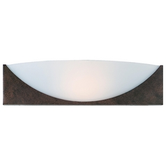 Modern Sconce Wall Light with White Glass in Rust Finish