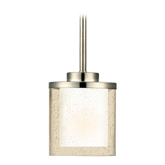Modern Mini-Pendant Light with Clear Seedy and White Glass Shades