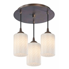3-Light Semi-Flush Lightt with White Art Glass - Bronze Finish
