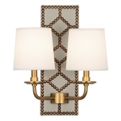 Robert Abbey Williamsburg Lightfoot Bruton White Leather W/ Aged Brass Sconce