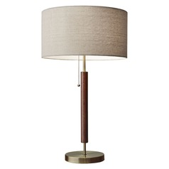 Adesso Home Hamilton Walnut / Antique Brass Table Lamp with Drum Shade