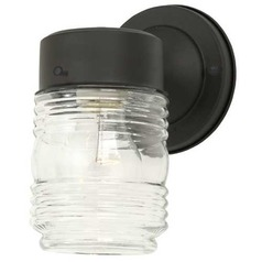 Jelly Jar Outdoor Wall Light Clear Glass Black Finish