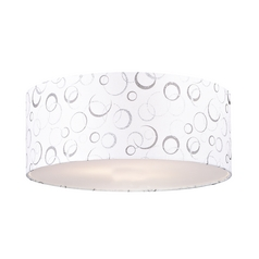 White / Silver Drum Lamp Shade with Spider Assembly