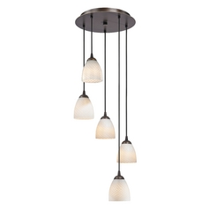 Design Classics Lighting Modern Multi-Light Pendant Light with White Glass and 5-Lights 580-220 GL1020MB
