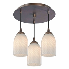 3-Light Semi-Flush Ceiling Lightt with White Art Glass - Bronze Finish