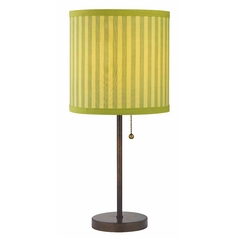 Bronze Pull-Chain Table Lamp with Green Striped Shade