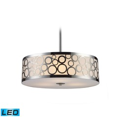Elk Lighting Retrovia Polished Nickel LED Pendant Light with Drum Shade