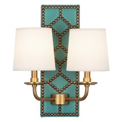 Robert Abbey Williamsburg Lightfoot Mayo Teal Leather W/ Aged Brass Sconce