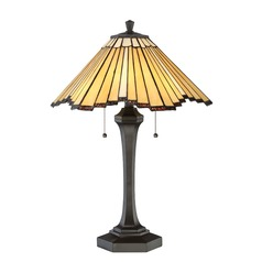 Quoizel Lighting Tiffany Western Bronze Table Lamp with Conical Shade