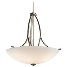 Kichler Pendant Light with White Glass in Brushed Pewter Finish