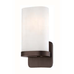Modern Sconce Wall Light with White Glass in Copper Bronze Patina Finish