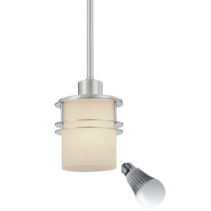 Mini-Pendant with Satin Nickel Rings with 6-Watt LED Lamp Light