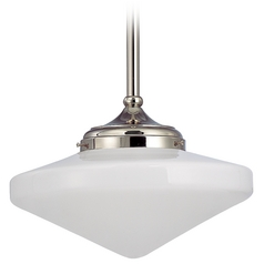 14-Inch Schoolhouse Pendant Light in Polished Nickel