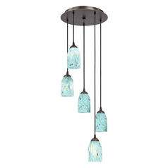 Design Classics Lighting Multi-Light Adjustable Pendant Light with Turquoise Blue Art Glass 580-220 GL1021D