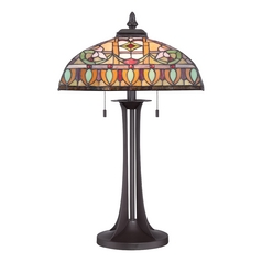 Quoizel Lighting Tiffany Western Bronze Table Lamp with Bowl / Dome Shade
