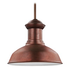 Sea Gull Fredricksburg Weathered Copper LED Outdoor Hanging Light