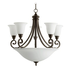 Quorum Lighting Bryant Oiled Bronze Chandeliers with Center Bowl