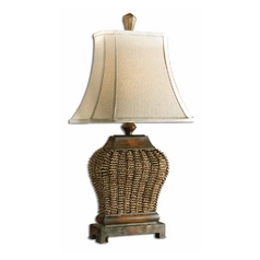 Table Lamp with Beige / Cream Shade in Mahogany Finish