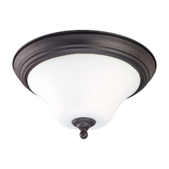 Bronze Flushmount Ceiling Light with White Glass - 13 Inches Wide