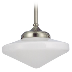 14-Inch Pendant Light with Schoolhouse Glass in Satin Nickel Finish