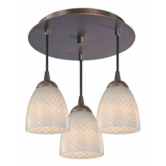 3-Light Semi-Flush Light with White Bell Art Glass - Bronze Finish