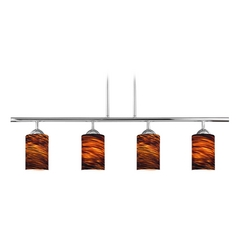 Design Classics Lighting Modern Island Light with Brown Glass in Chrome Finish 718-26 GL1023C