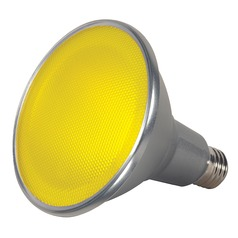 Yellow 15W Medium Base LED Bulb PAR38 40 Degree Beam Spread Dimmable