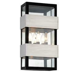 Troy Lighting Dana Point Black with Brushed Stainless Outdoor Wall Light