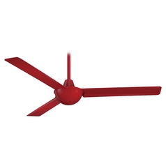52-Inch Modern Ceiling Fan Without Light in Red Finish