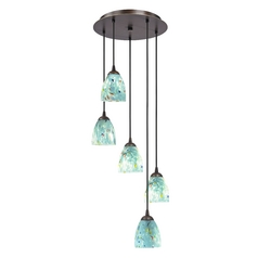 Design Classics Lighting Bronze Multi-Light Pendant Light with Turquoise Blue Art Glass 580-220 GL1021MB