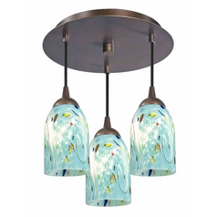 3-Light Semi-Flush Lightt with Turquoise Art Glass - Bronze Finish