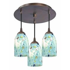 Art glass semi flushmount lights art glass ceiling lights 3 light semi flush lightt with turquoise art glass bronze finish aloadofball Image collections