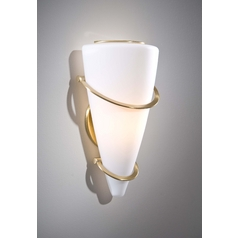 Holtkoetter Modern Sconce Wall Light with White Glass in Brushed Brass Finish