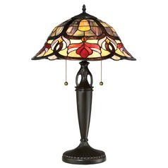 Quoizel Lighting Garland Vintage Bronze Table Lamp with Scalloped Shade