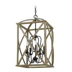 Farmhouse Weathered Oak 5-Light Pendant