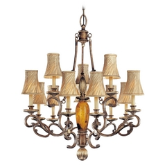 Chandelier with Beige / Cream Glass in Cartouche Bronze Finish