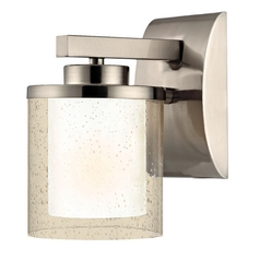 Modern Wall Sconce with Clear Seedy and White Glass Shades